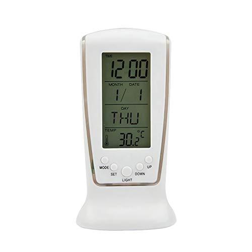 Digital Clock LED met blauwe achtergrondverlichting Digitale wekker elektronische agenda Thermometer LED Klok met Time Kalender Thermometer (Color : White, Size : 4.92