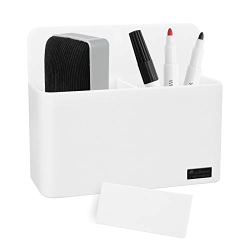 Magnetic Dry Erase Marker Holder, White Locker Organizer, Pencil Storage Cup with Strong Magnet, Marker/Pen Basket for Whiteboard, Refrigerator, Locker Accessories, School and Office Supplies