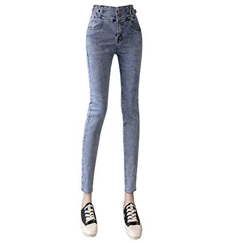 Luandge Women Casual Fashion All-Match High Waist Tummy Control Skinny Denim Cropped Pants Slim Fit Stretch Pockets Ankle Jeans XXL