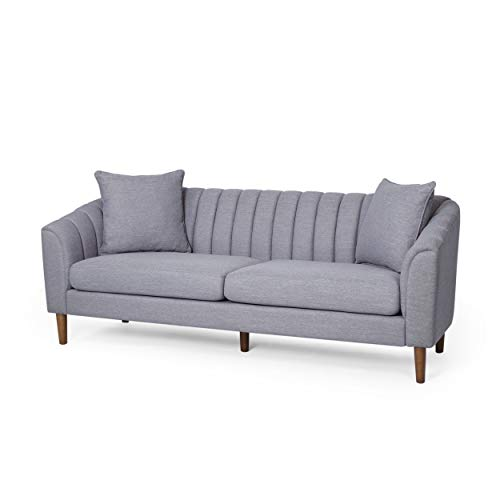 Susan Contemporary Fabric 3 Seater Sofa, Cloud Gray and Dark Brown