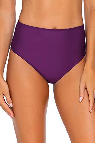 Sunsets Women's The High Road Full Coverage Bikini Bottom Swimsuit, Deep Plum, Medium