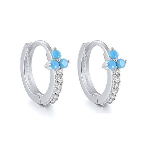 STLG Hoop Earrings 925 Sterling Silver Hoop Earring Cuff Earrings Huggie Stud Hinged Hoops Hypoallergenic inlay with Cubic Zirconia and Turquoise Stone For Women and Girls