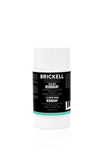 Brickell Men's Products Natural Deodorant For Men, Natural and Organic, Aluminum, Alcohol, and Baking Soda Free, 2.65 Ounce, Fresh Mint