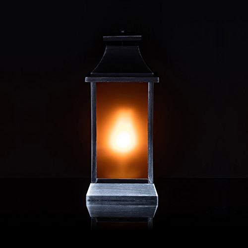 Laterne mit LED-Flammen Beleuchtung und Timer - OUTDOOR geeignet - Flammeneffekt (Orange, 40 cm)