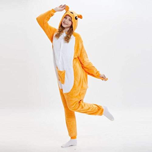 Unisex pyjama's Volwassenen Dier Onesies flanel kangoeroe-cartoon dier verbonden pyjama's Vrouwen winter paar Home kleding pak Performance Kleding, JUSTTIME Large geel