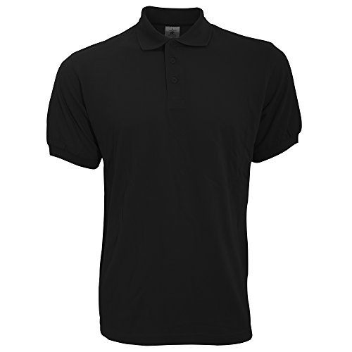 kurzärmliges B&C Safran Herren Polo Shirt (2XL) (Schwarz) XXL,Schwarz
