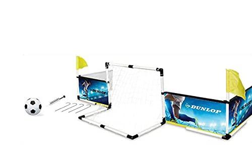 Dunlop Fußball Set - Boarding, Fußballtor, Eckfahnen, Fußball und Pumpe - 230x73x36cm