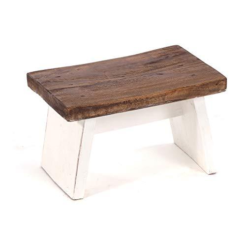 DESIGN DELIGHTS FUSSHOCKER SCHEMEL | massives Recyclingholz, 18,5x29x19,5 cm (HxBxT) | Shabby Holzhocker | Farbe: 06 weiß-Landhaus