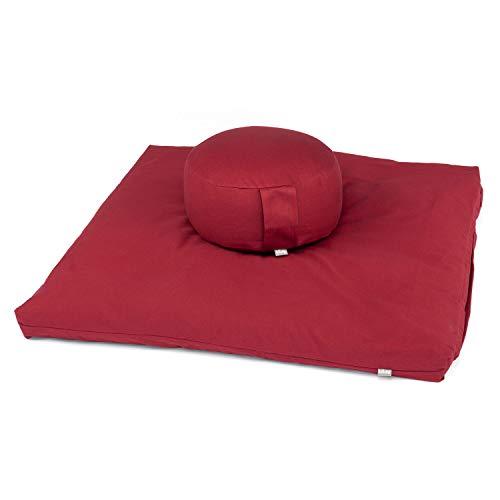 Bodhi Meditations-Set ECO | Meditationskissen Rondo + Zabuton Kapok | anthrazit