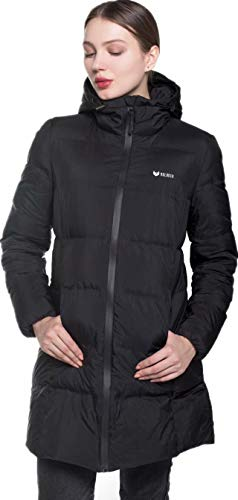 Beinia Valuker Women's Seamless Hooded Down Coat Jacket Puffer Parka Jacket Black-11-S