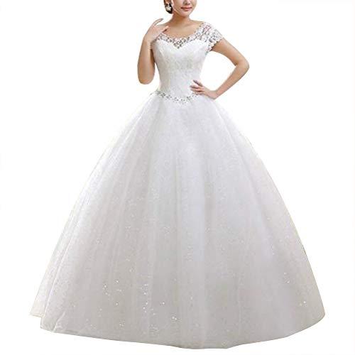 Espartilho de renda com ombro duplo e comprimento até o chão e manga curta com contas para casamento vestido de noiva vestido de baile – Tamanho 2GG (branco)