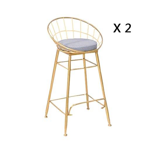 QTQZDD NoordeEuropese stijl bar stoel ijzer kunst bar stoel kledingwinkel zetel Golden Iron Wire Lounge stoel barkruk kruk tafelkruk (kleur: Goud2) 1 1