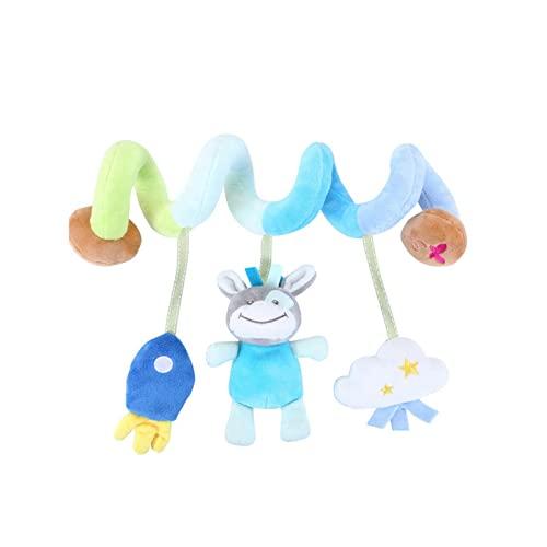 RAILONCH Espiral de actividad, animal/tela, diversión para agarrar y sentir el cochecito, cadena de juguete para bebés y niños pequeños a partir de 0 meses (A)