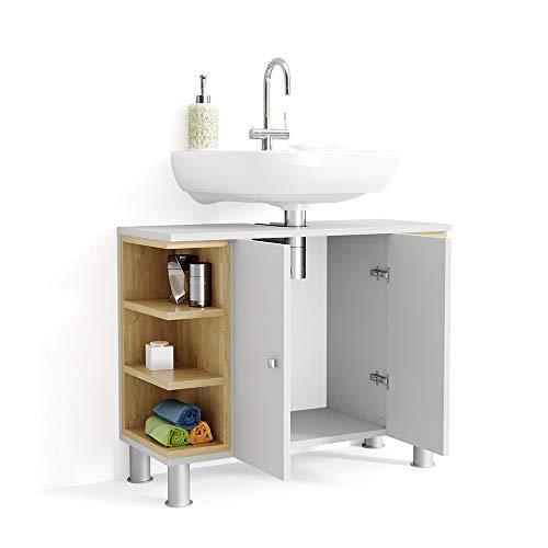Vicco AQUIS Waschtischunterschrank Weiß Eiche Badschrank Badezimmerschrank Waschbeckenunterschrank Unterstellschrank