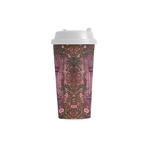Taza fotográfica Fantasy Artistic Arch Rose Pink Vine Dove Candle 16 Oz Tazas de plástico de doble pared Viajero de viaje Tazas de café para mujeres Bebidas Deportes Agua 16 Oz Tazas de plástico con