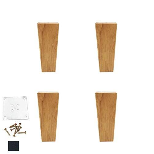 DX meubelpoten voor banken, 4 stuks, poten voor bed, poten van eikenhout, transparant gecoat, voor tafels, tv-meubels, doe-het-zelfprojecten, Com