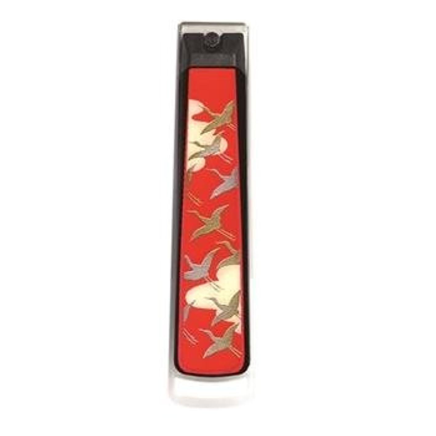 電子見てテーブル紀州漆器 22-82-6I 蒔絵爪切り 桐箱入り 千羽鶴(曙) サイズ 2.4×10.5×2.1cm