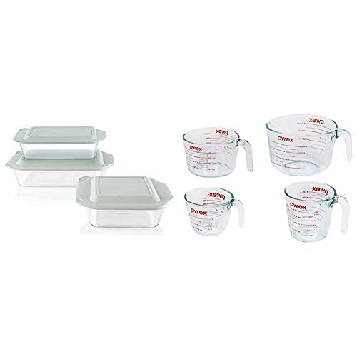 Pyrex Deep Baking Dish Set (6-Piece, BPA-Free Lids) & Glass Measuring Cup Set (4-Piece, Microwave and Oven Safe),Clear
