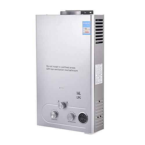 Calentador de Agua Instantaneo a Gas, 16L 4,3 GPM,32kW, Calentador de Agua LPG, sin Tanque, con LCD Digital, acero Inoxidable con Cabezal de Ducha, Camping, RV