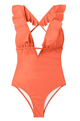 CUPSHE Women's One Piece Swimsuit Ruffle Deep V Neck Strappy Swimwear Bathing Suits Orange X-Large