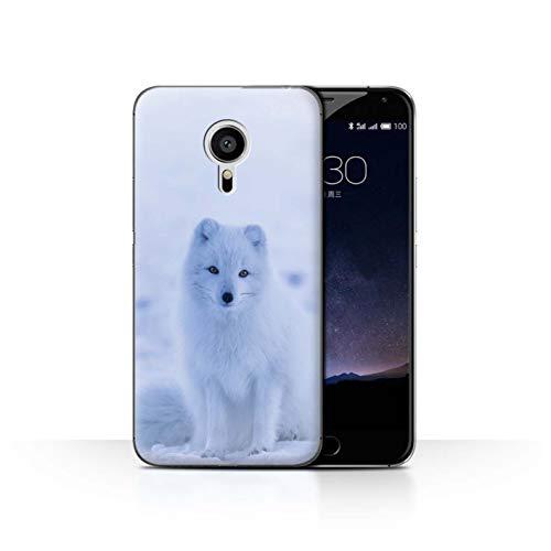 Handy Hülle kompatibel mit Meizu Pro 5 Süß Baby Tier Fotos Weißer Polarfuchs Welpe Transparent Klar Ultra Dünne Handyhülle Hülle Cover