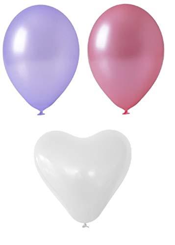 Prezer 250 Ballons blanc cœur & Rose/Lavande Ballons décoration mariage