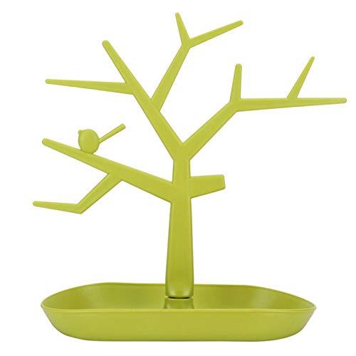 FikaLife Estante de joyería de árbol de pájaro exhibición pendientes collar rack almacenamiento rack torre estante almacenamiento estante de almacenamiento (verde)