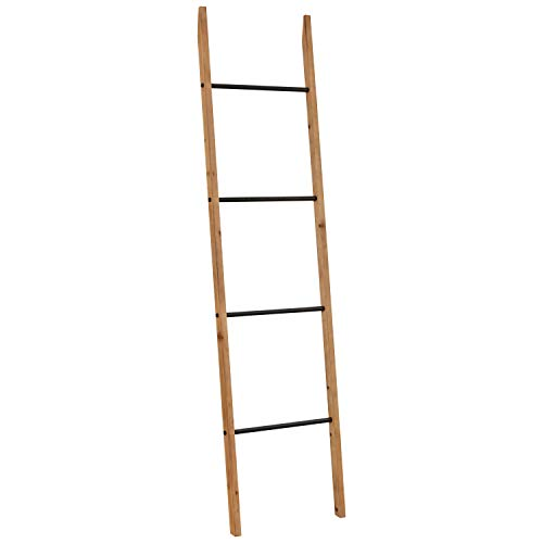 Amazon Brand – Rivet Contemporary Fir Decorative Blanket Ladder with Iron Rungs - 71.65'H, Black and Natural Wood