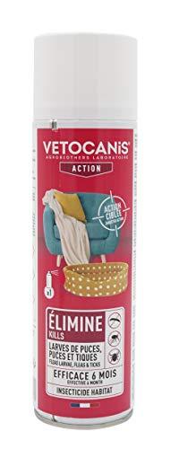 VETOCANIS Spray Anti-Puces et Anti-Acariens pour la maison. Traite 140 m2. Elimine les Puces Adultes et les Œufs dans l'Environnement de votre Chien et Chat.