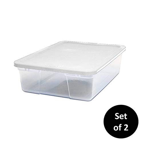 HOMZ Snaplock Clear Storage Bin with Lid, Medium-28 Quart (Set of 2), White, 2 Sets