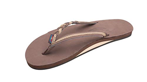 Rainbow Sandals Women's Flirty Braidy Premier Leather w/Single Braided Strap, Expresso/Sierra Brown, Ladies Large / 7.5-8.5 B(M) US