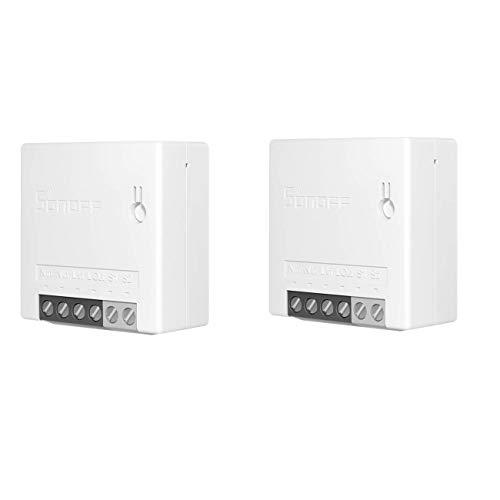 Interruttore SONOFF MINI r2 Fai-da-te Smart Switch Piccolo corpo Telecomando Interruttore WiFi Supporto Interruttore esterno Funziona con Google Home Nest IFTTT e Alexa (2pcs)