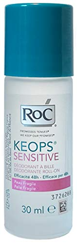 RoC - KEOPS Desodorante roll-on sensible - Antitranspirante - Protección duradera - Sin alcohol y sin perfume - para pieles sensibles - 30 ml