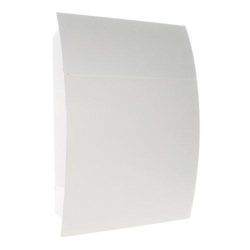 Rottner Briefkasten Harrow, Stahlblech, Weiß, Postkasten A4-Formate, Zylinderschloss, Wandmontage