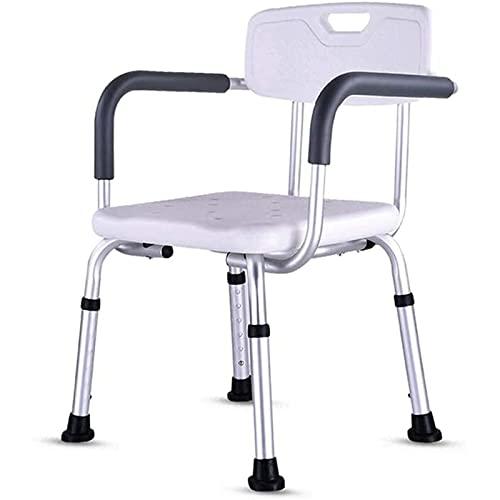 SXFYHXY Asiento De Ducha Resistente con Respaldo - Silla De Bañera con Brazos para Discapacitados, Ancianos - Asas De Asiento De Baño Ajustables