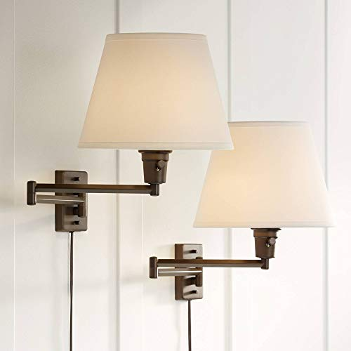Clement Industrial Swing Arm Wall Lamps Set of 2 Oil Rubbed Bronze Plug-in Light Fixture White Linen Empire Shade for Bedroom Bedside Living Room Reading - 360 Lighting