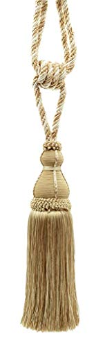 Elegant Ivory, Light Beige Curtain & Drapery Tassel Tieback / 28cm tassel, 76cm / Spread (embrace) Style/ Style# TBH15 - White Sands 4001