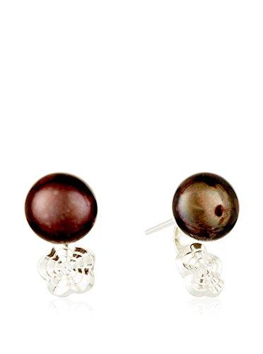 Córdoba Jewels | Pendientes en plata de Ley 925. Diseño Tú y Yo Diamantado perla Tahití