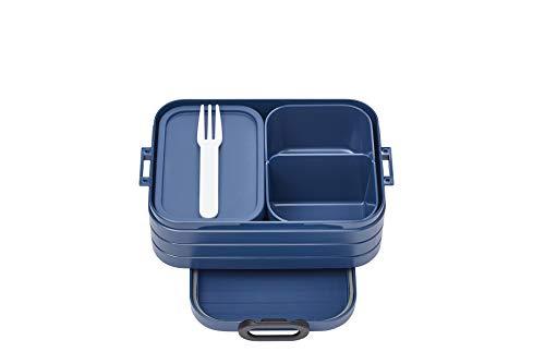 Mepal Bento-Lunchbox Take A Break Nordic Denim midi – Brotdose mit Fächern, geeignet für bis zu 4 Butterbrote, TPE/pp/abs, Blau, 0 mm