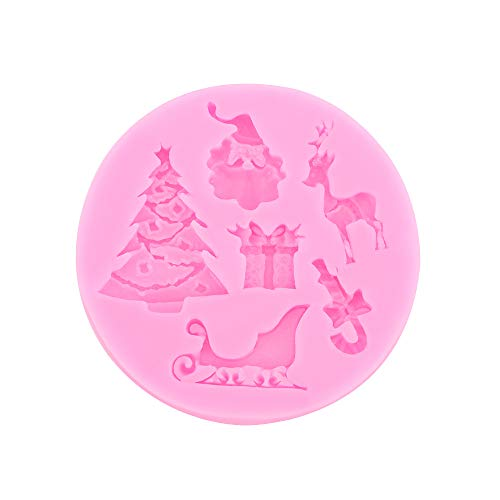 SKJK Silicone Mold Christmas Fondant Mold Party Supplies Cake Decoration 6 Patterns, Christmas Tree, Reindeer, Santa Claus, Cane, Sleigh, Gift Box