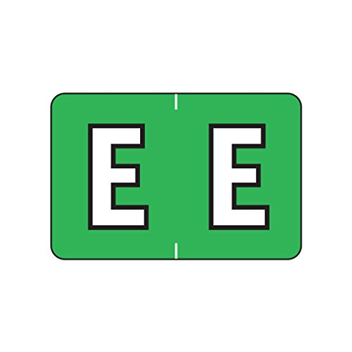 AMZfiling Alphabetic Color Coded Labels- Letter E, Green, Barkley ABKM and Sycom Compatible (Polylaminated, 500/Roll)