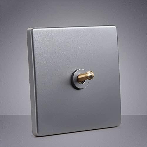 Foicags Panel de palanca de latón gris 1-4 GANGS WAY Moneen Type 86 Panel de interruptores oculto Silver Single Doble Lámpara de control Interruptor de pared Interruptor de luz industrial Retro Interr