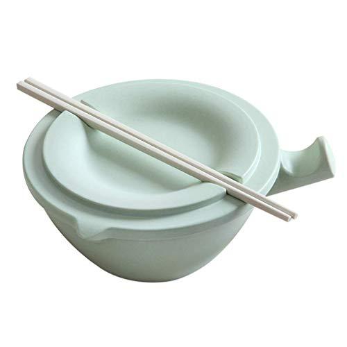 Onior Tazón de Ramen Creativo tazón con Tapa de Fibra de bambú del hogar Soup Bowl Estudiante compartida Fideos instantáneos Almuerzo vajilla del tazón Hogar