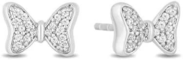 A surprise price is realized Spring new work one after another 0.10 CT Round Cut Created Diamond 14k Tiny Bow Whi Stud Earrings