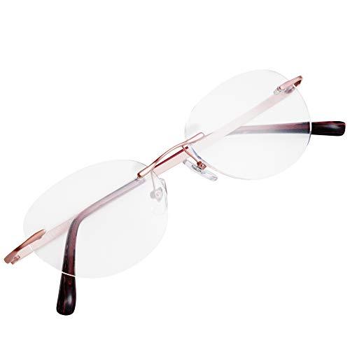 フチなし 軽い 老眼鏡 アイウェアエア おしゃれなフレームレス レディース メンズ ブルーライトカット +0.5〜+2.0 4色 ボストン C5 +2.50