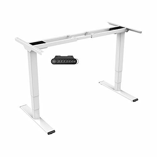 Spacetronik Mesa eléctrica regulable en altura, marco de escritorio eléctrico, mesa ajustable, estructura de mesa, 2 motores, escritorio regulable en altura (blanco)