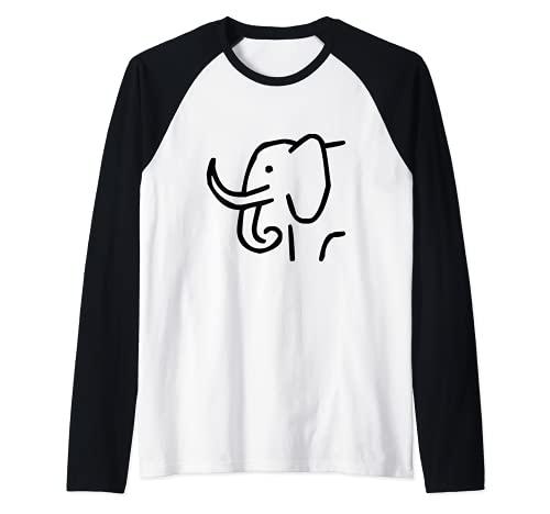 Elefante Con Zanne Lunghe Maglia con Maniche Raglan
