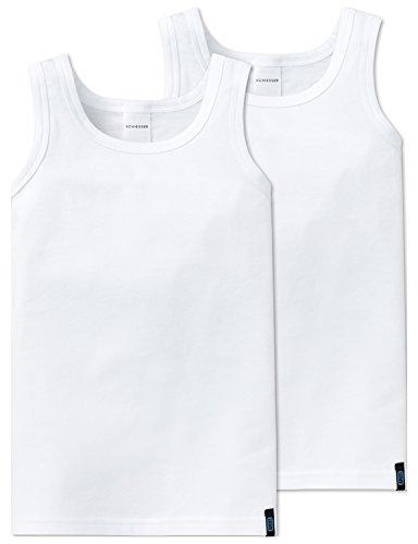Schiesser Jungen 95/5 2pack Hemd 0/0 Unterhemd, Weiß (Weiss 100), 104 (2er Pack)