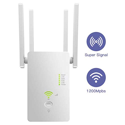 AC1200 5GHZ&2.4GHZ Dual Band/WiFi Range Extender/WiFi Long Range Extender Repeater/Access Point/Router/Wireless Signal Booster & Gigabit Ethernet Port WiFi Range Amplifier 4 External Antennas