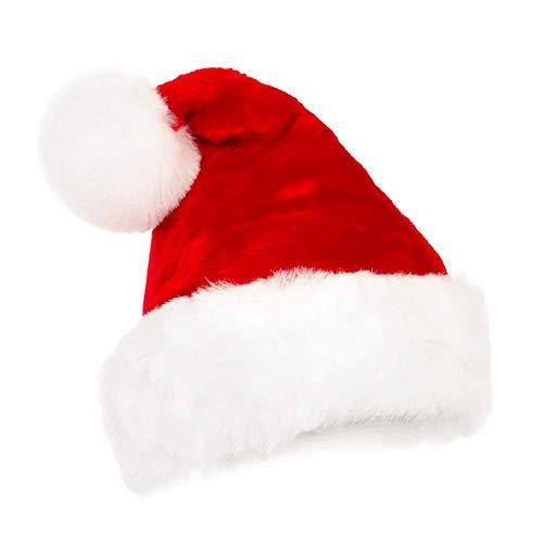 Eillybird Kerstman Kerstmuts Verdikt Warmer Zachte dubbele rode fluweel Kerstman hoed met de witte pluche manchetten volwassenen unisex 1 stuks